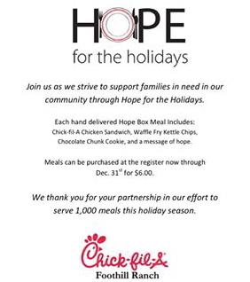 Foothill Ranch Chick-Fil-A Hope for the Holidays